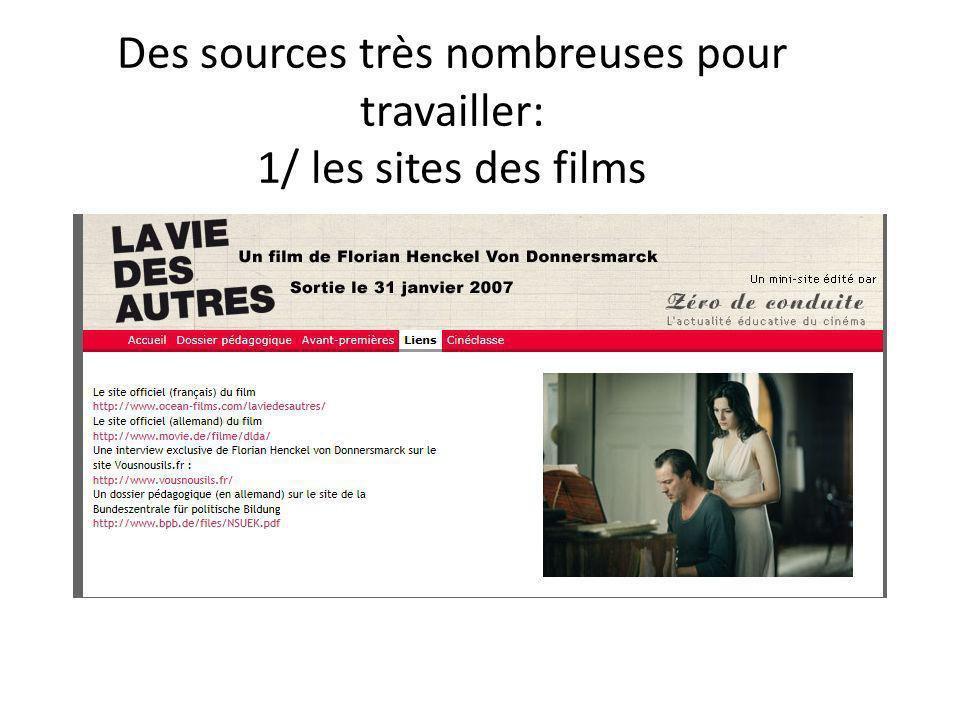 Des sources très nombreuses pour travailler: 1/ les sites des films