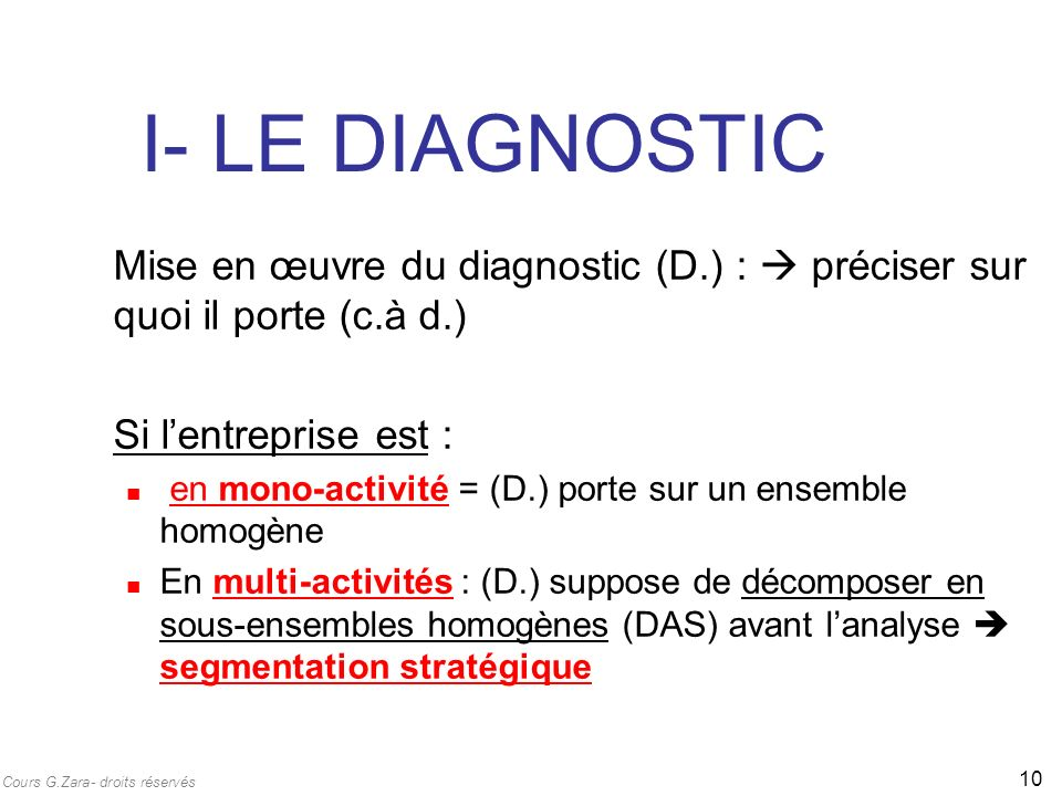 I- LE DIAGNOSTIC Mise en œuvre du diagnostic (D.) :  préciser sur quoi il porte (c.à d.) Si l'entreprise est :