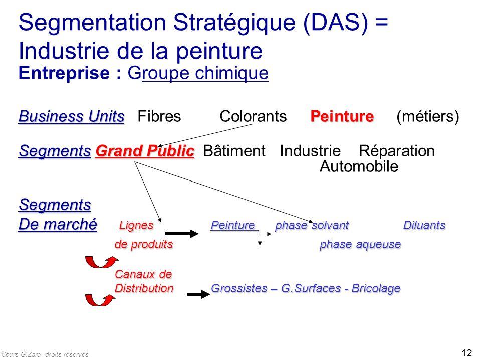 Segmentation Stratégique (DAS) = Industrie de la peinture