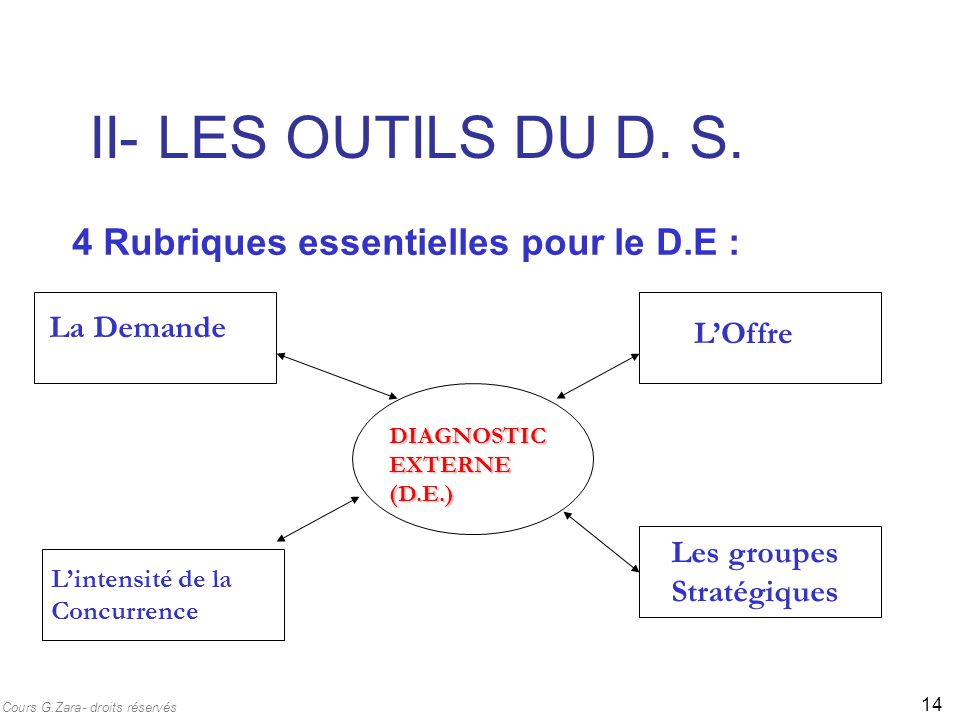 II- LES OUTILS DU D. S. 4 Rubriques essentielles pour le D.E :
