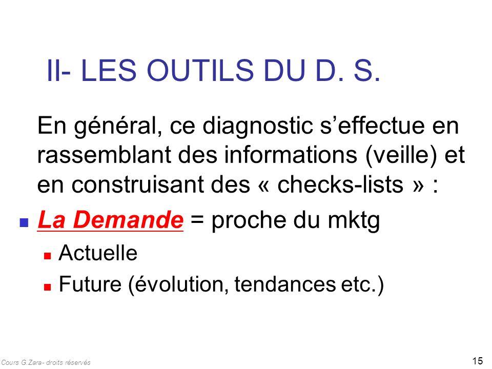 II- LES OUTILS DU D. S. En général, ce diagnostic s'effectue en rassemblant des informations (veille) et en construisant des « checks-lists » :