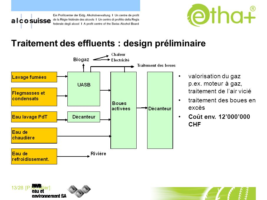 Traitement des effluents : design préliminaire
