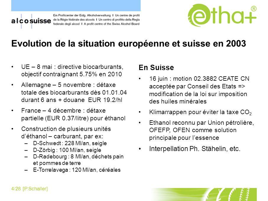 Evolution de la situation européenne et suisse en 2003