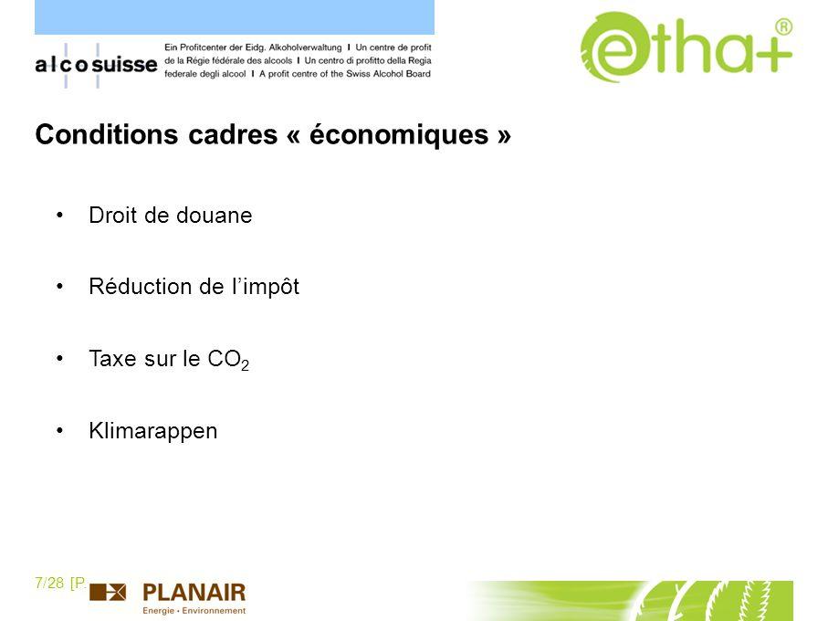 Conditions cadres « économiques »
