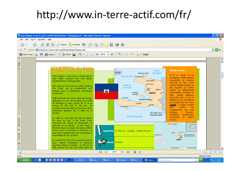http://www.in-terre-actif.com/fr/ http://www.in-terre-actif.com/fiches_pays/haiti.htm#