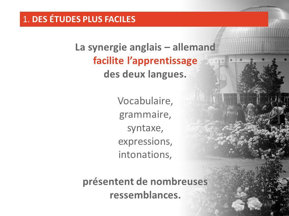La synergie anglais – allemand facilite l'apprentissage