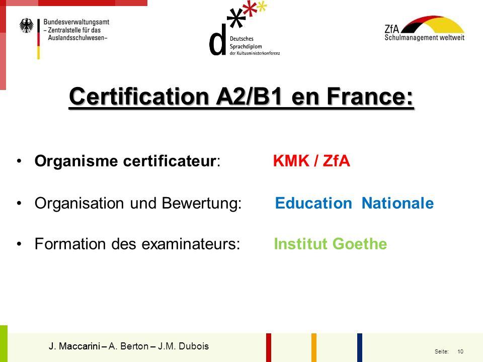 Certification A2/B1 en France: