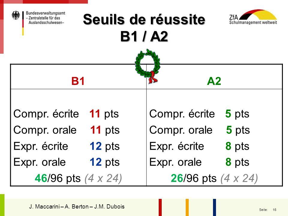 Seuils de réussite B1 / A2 B1 A2 Compr. écrite 11 pts
