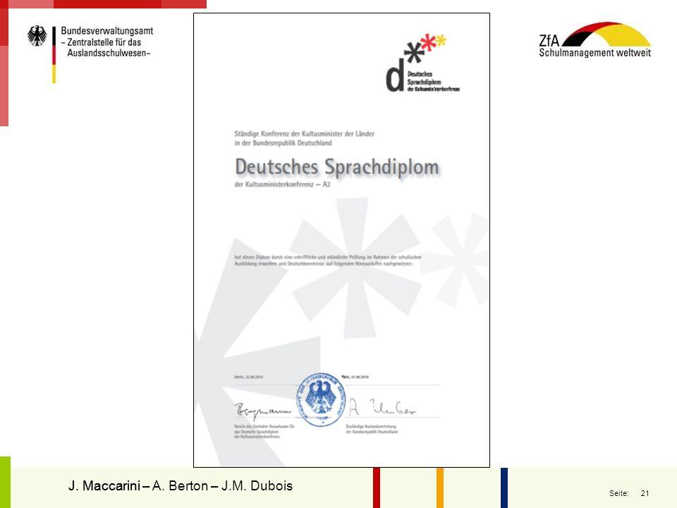 Le diplôme J. Maccarini – A. Berton – J.M. Dubois J. Maccarini
