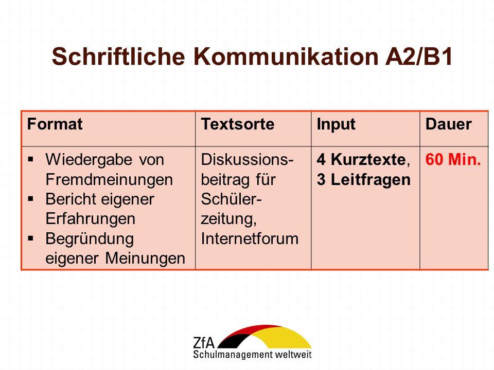 Schriftliche Kommunikation A2/B1
