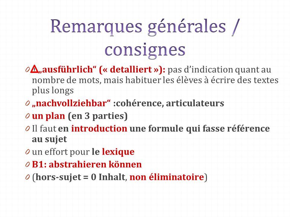 Remarques générales / consignes