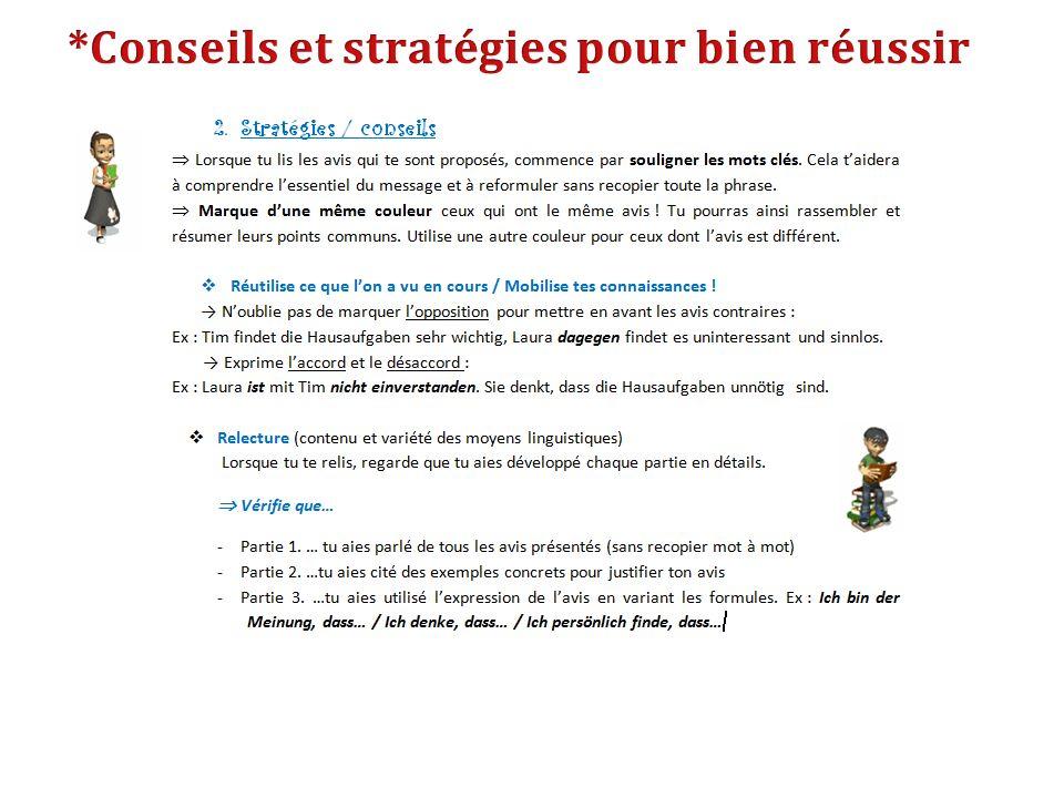 *Conseils et stratégies pour bien réussir