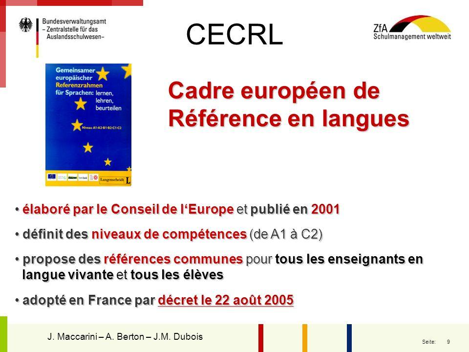 CECRL Cadre européen de Référence en langues
