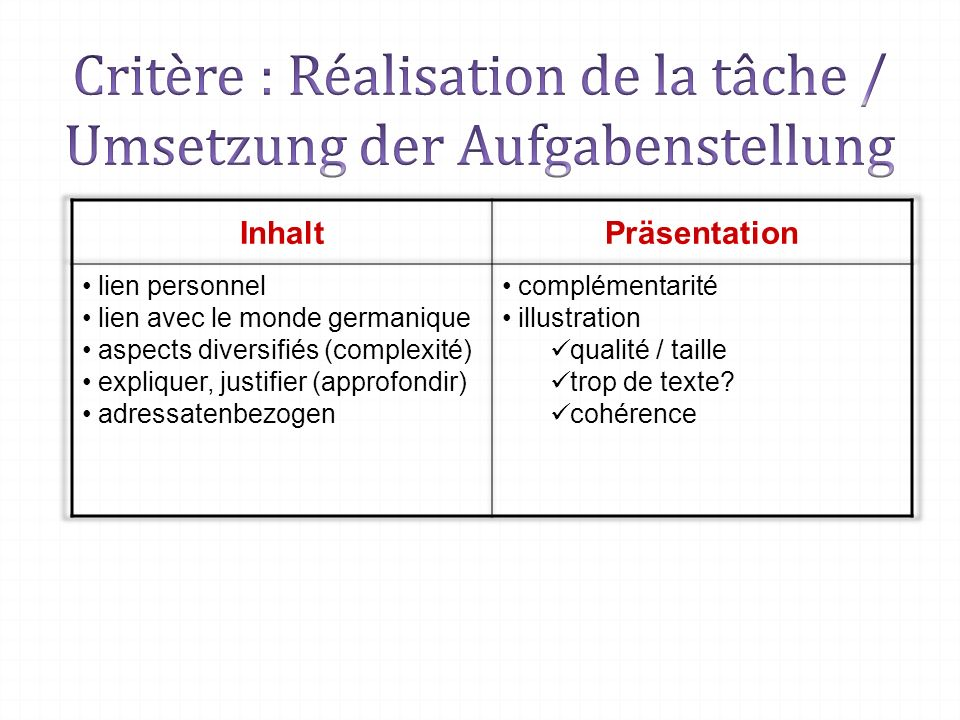 Critère : Réalisation de la tâche / Umsetzung der Aufgabenstellung