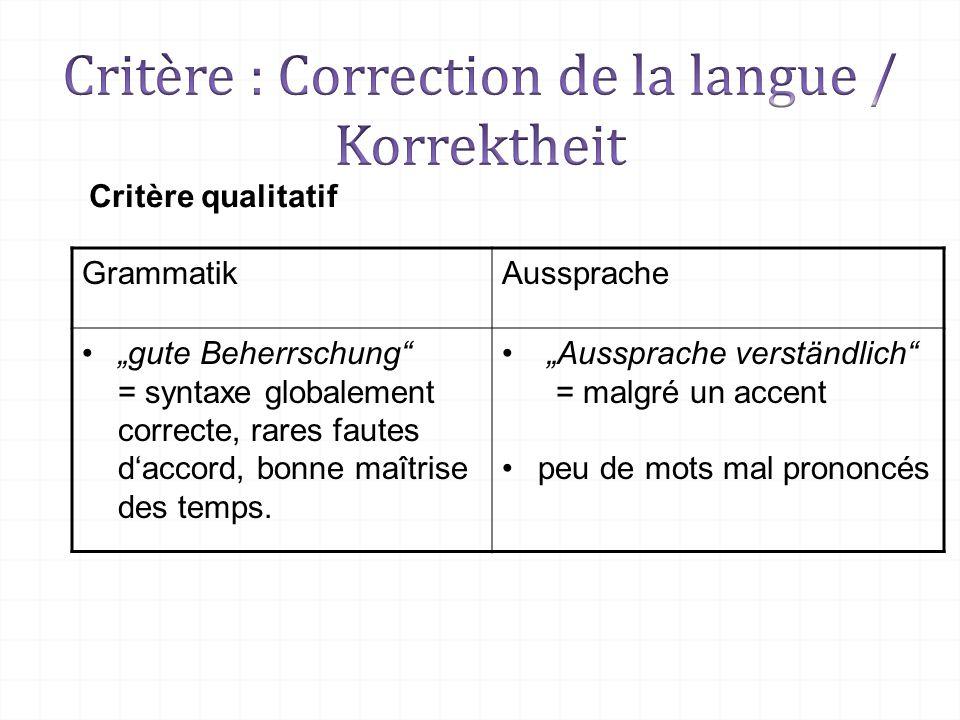 Critère : Correction de la langue / Korrektheit