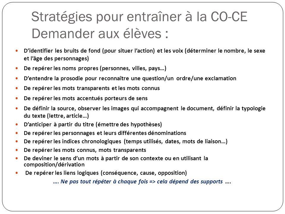 Stratégies pour entraîner à la CO-CE Demander aux élèves :