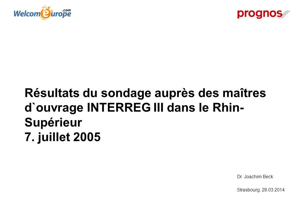 Résultats du sondage auprès des maîtres d`ouvrage INTERREG III dans le Rhin-Supérieur 7. juillet 2005