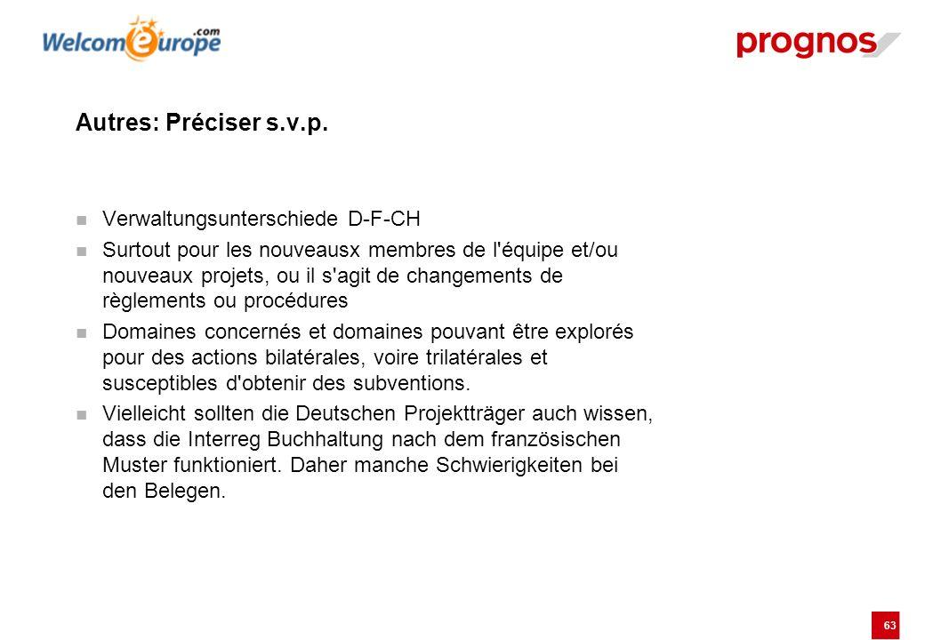 Autres: Préciser s.v.p. Verwaltungsunterschiede D-F-CH