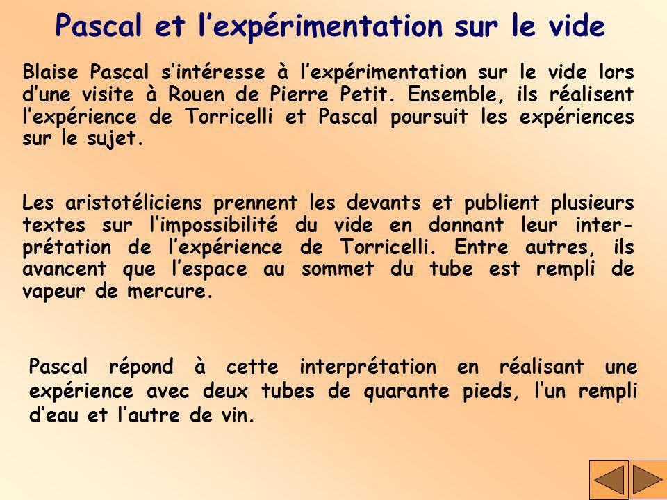 Pascal et l'expérimentation sur le vide