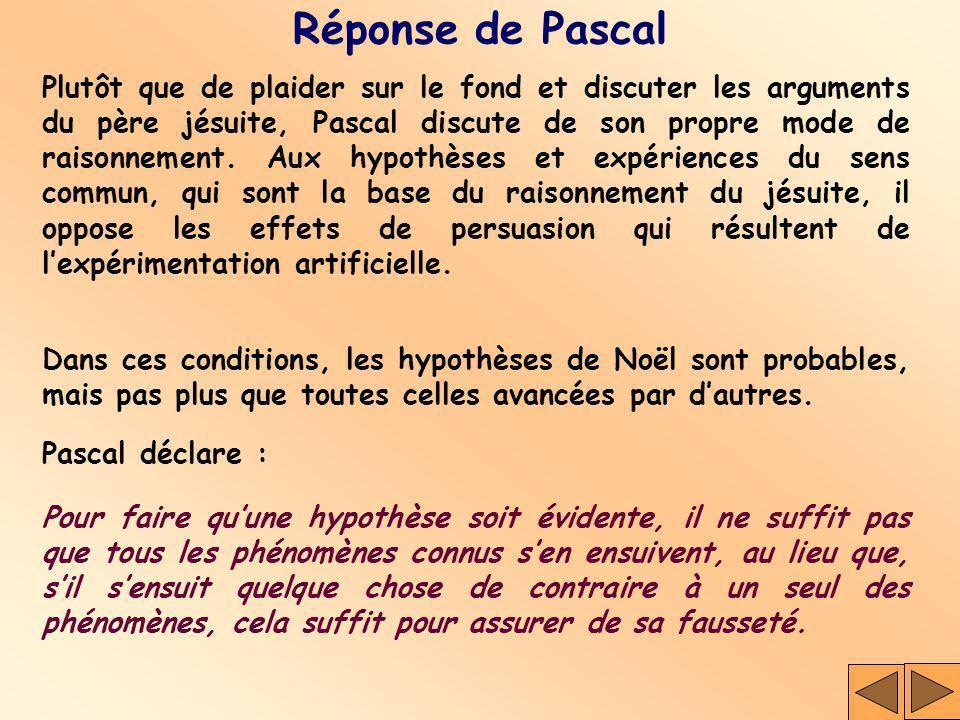 Réponse de Pascal