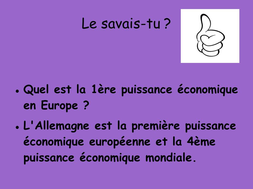 Le savais-tu Quel est la 1ère puissance économique en Europe