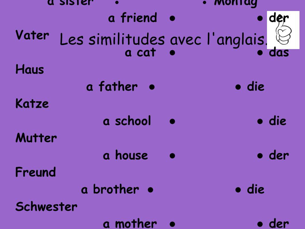 Les similitudes avec l anglais.