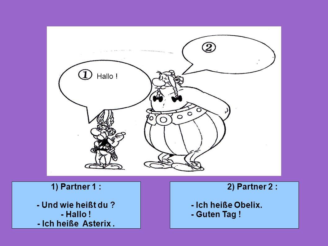 1) Partner 1 : - Und wie heißt du - Hallo ! - Ich heiße Asterix .