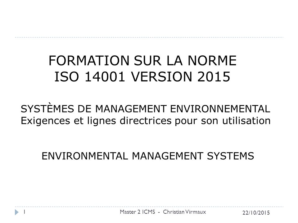 FORMATION SUR LA NORME ISO 14001 VERSION 2015