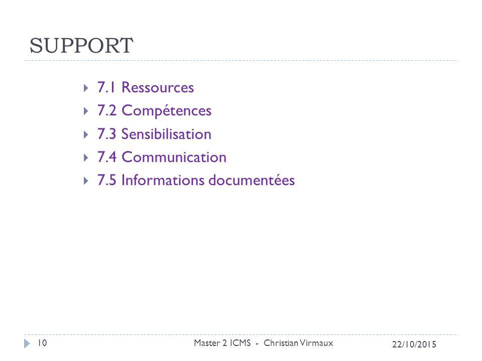 SUPPORT 7.1 Ressources 7.2 Compétences 7.3 Sensibilisation