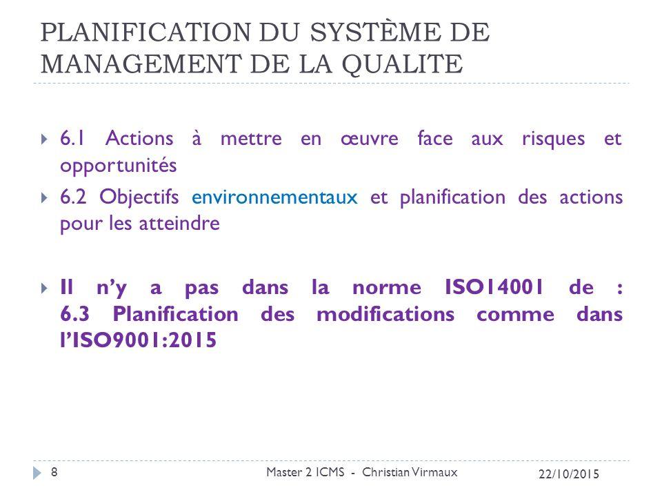 PLANIFICATION DU SYSTÈME DE MANAGEMENT DE LA QUALITE