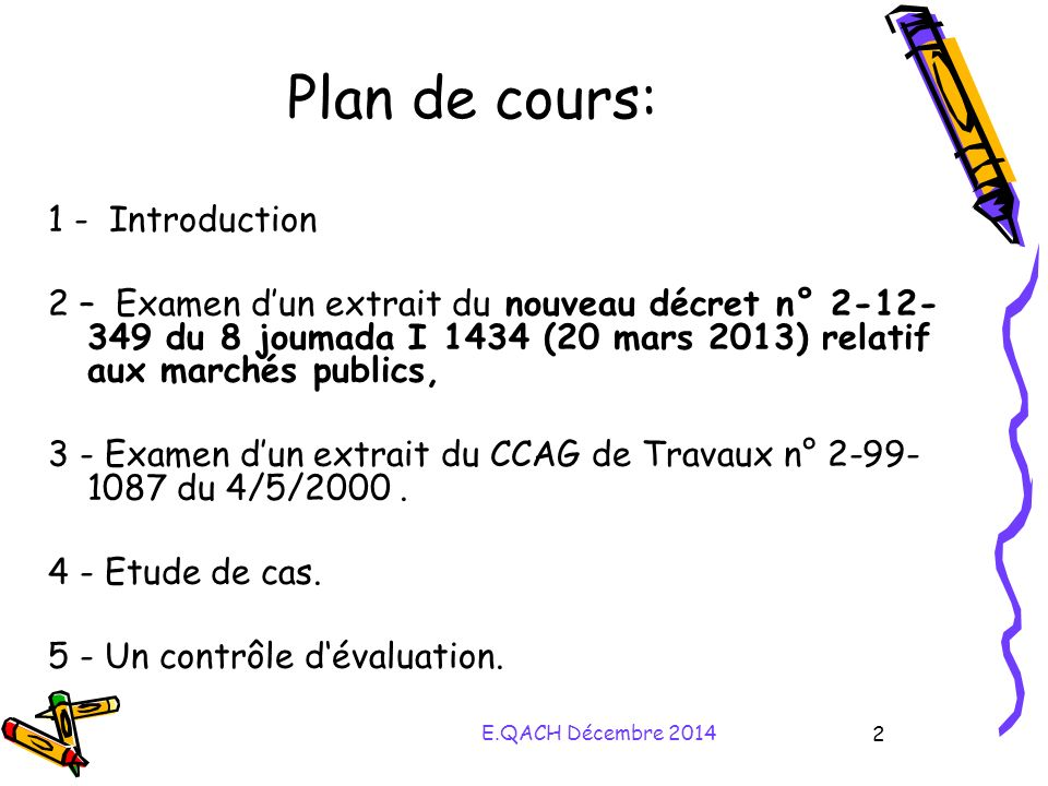 Plan de cours: 1 - Introduction