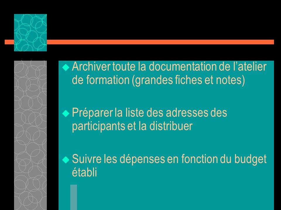 Archiver toute la documentation de l'atelier de formation (grandes fiches et notes)