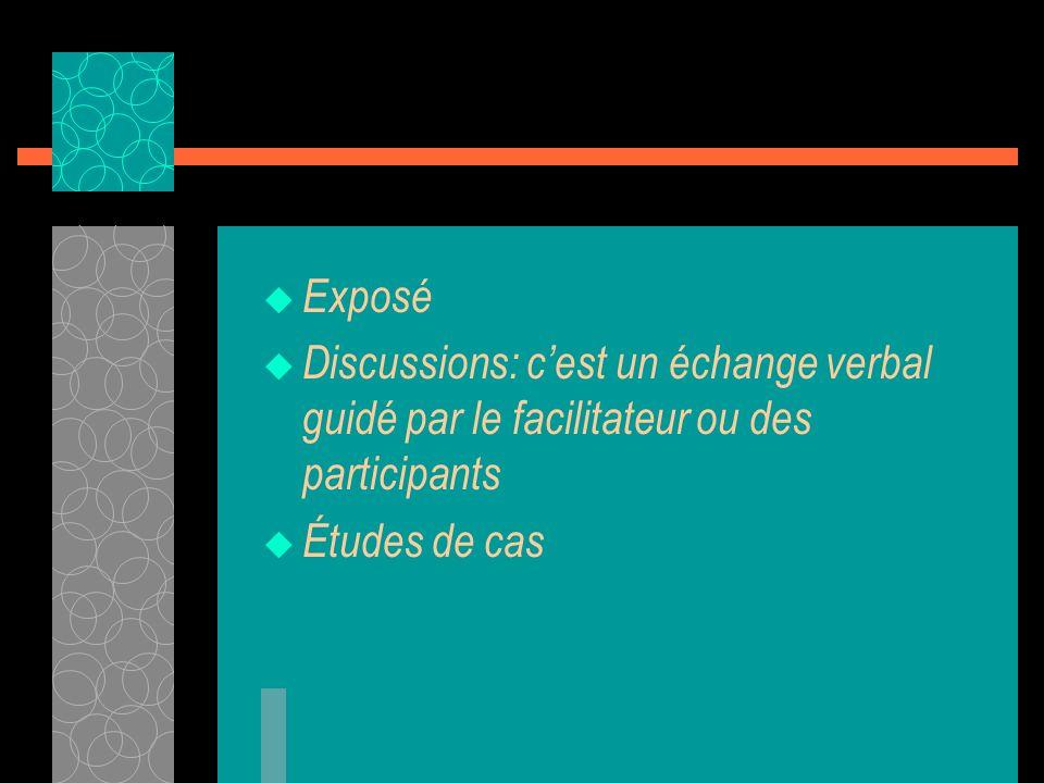 Exposé Discussions: c'est un échange verbal guidé par le facilitateur ou des participants.