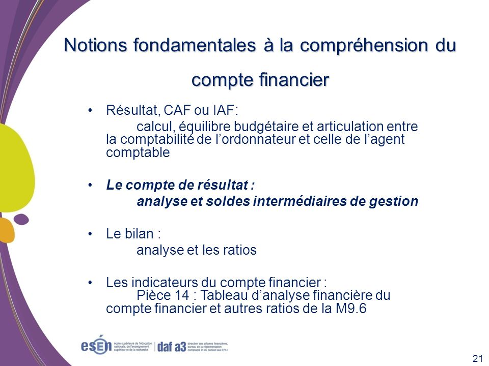 Notions fondamentales à la compréhension du compte financier