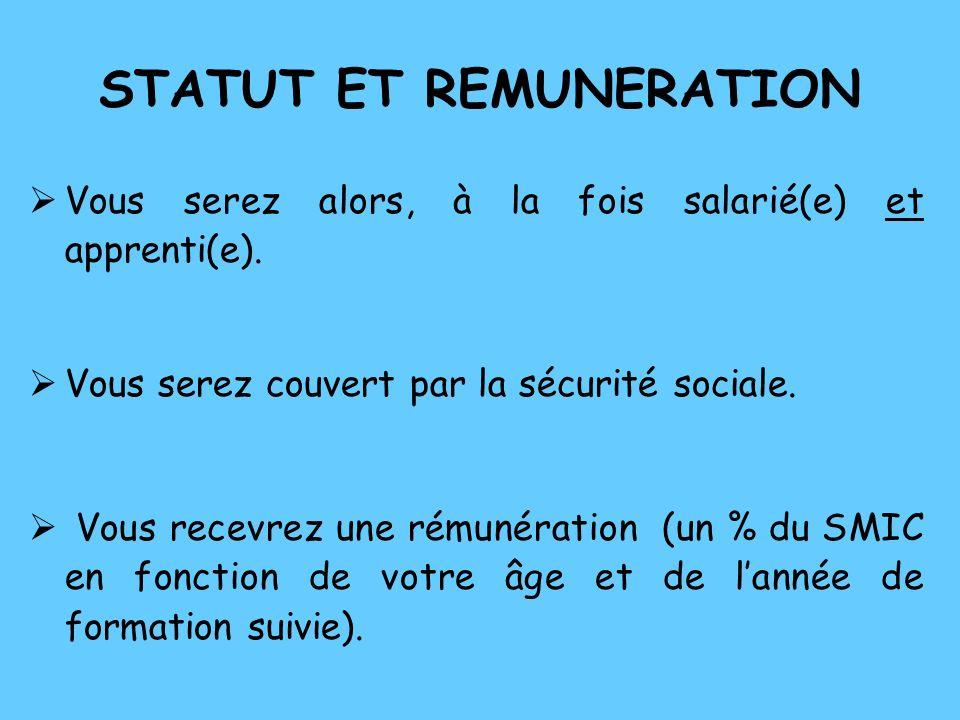 STATUT ET REMUNERATION