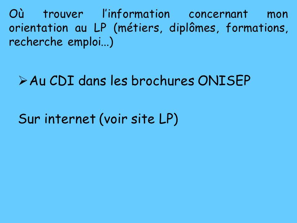 Au CDI dans les brochures ONISEP Sur internet (voir site LP)