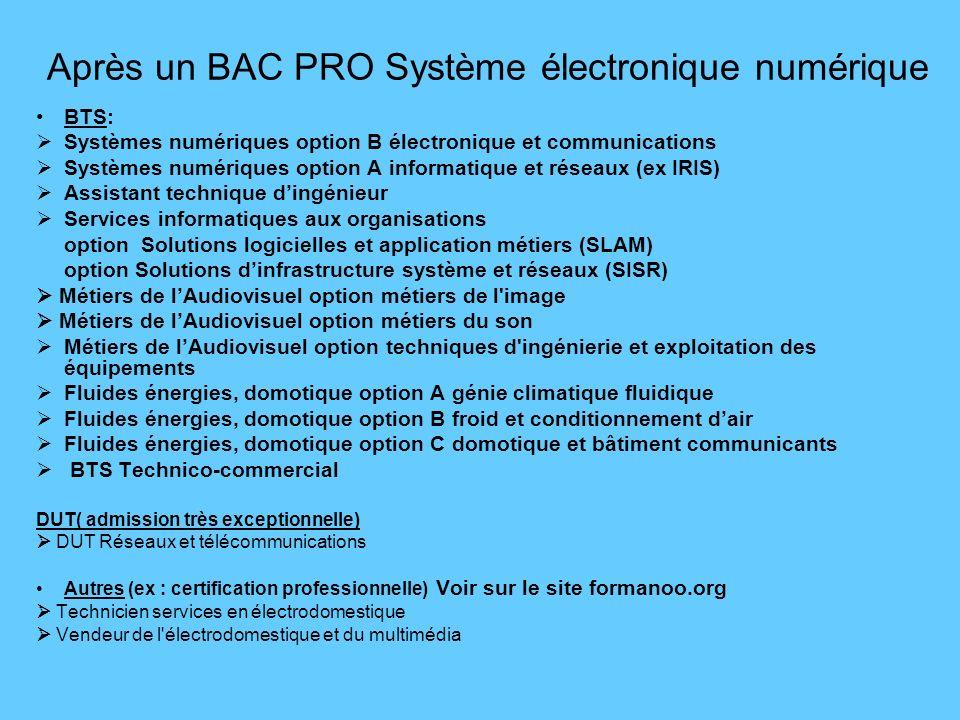 Après un BAC PRO Système électronique numérique