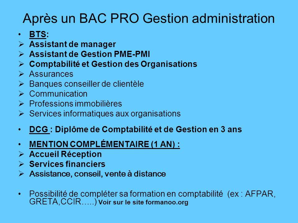 Après un BAC PRO Gestion administration