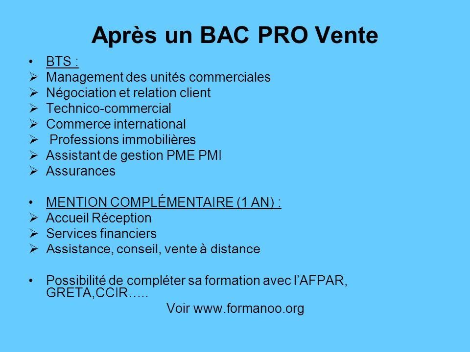 Après un BAC PRO Vente BTS : Management des unités commerciales