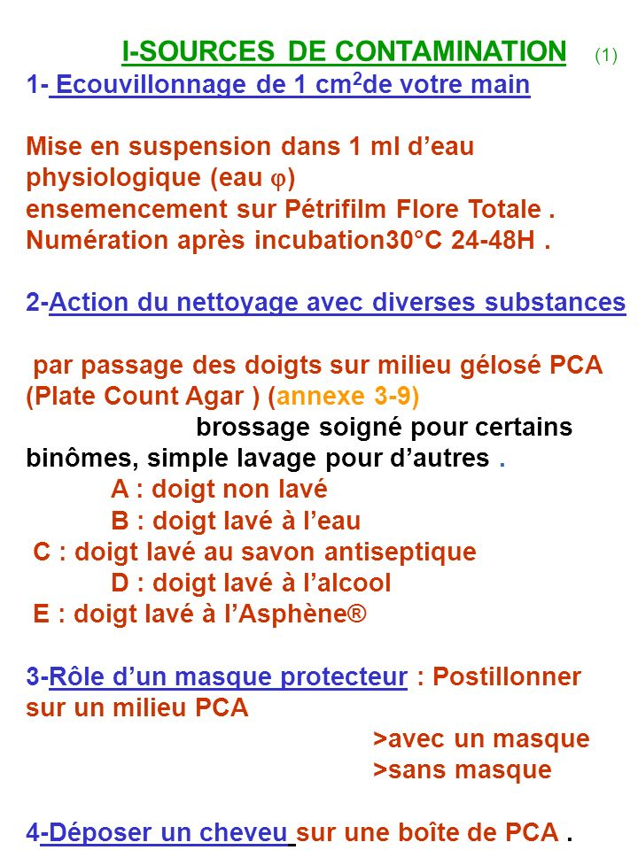 I-SOURCES DE CONTAMINATION (1)