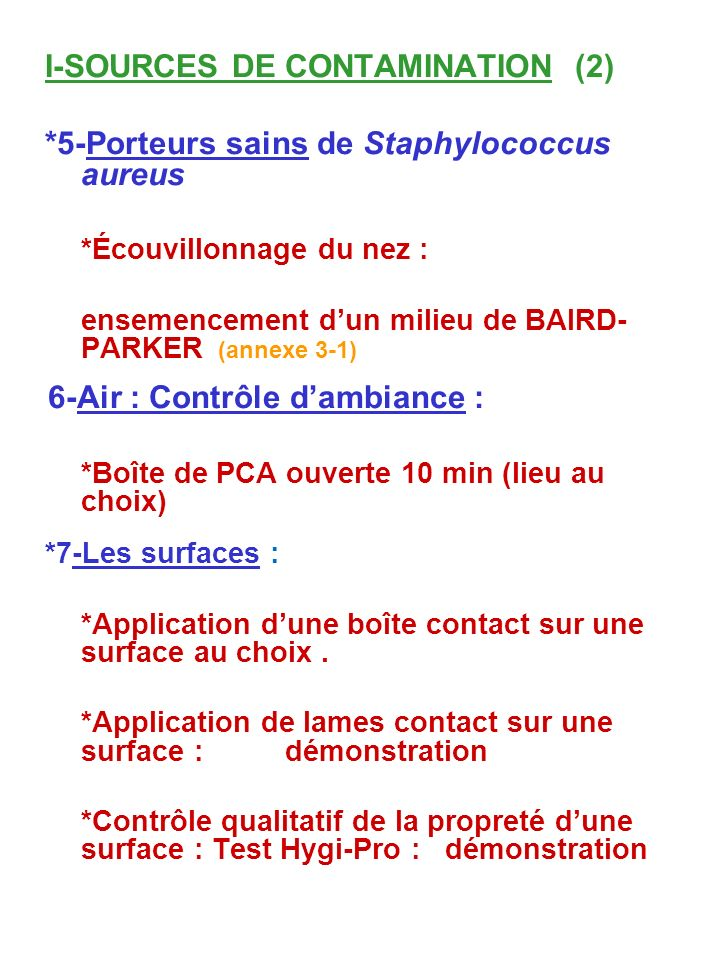 I-SOURCES DE CONTAMINATION (2)