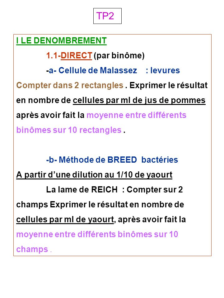 TP2 I LE DENOMBREMENT 1.1-DIRECT (par binôme)