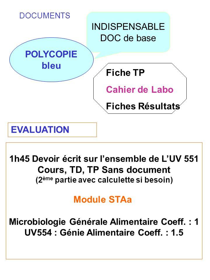 POLYCOPIE bleu Cours, TD, TP Sans document Module STAa