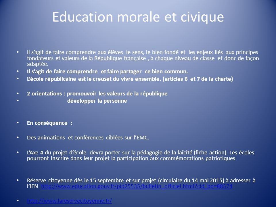 Education morale et civique