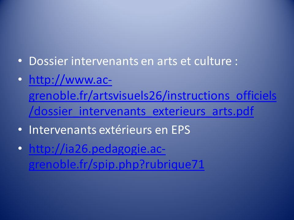 Dossier intervenants en arts et culture :