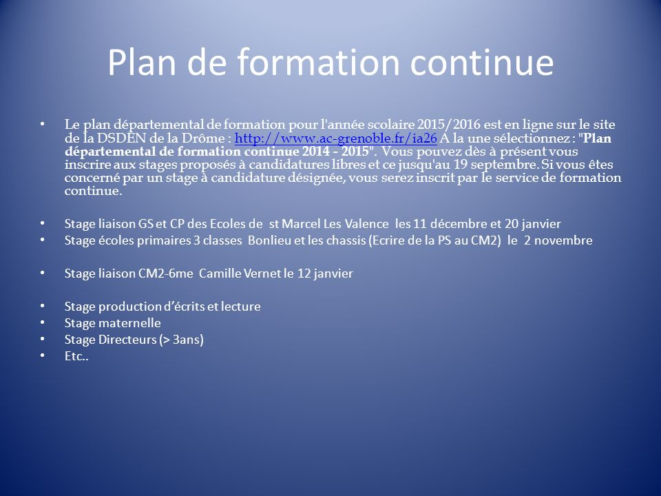 Plan de formation continue