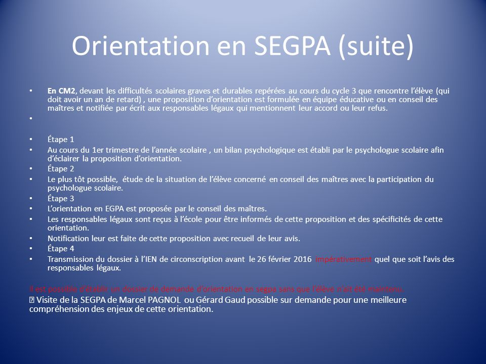 Orientation en SEGPA (suite)