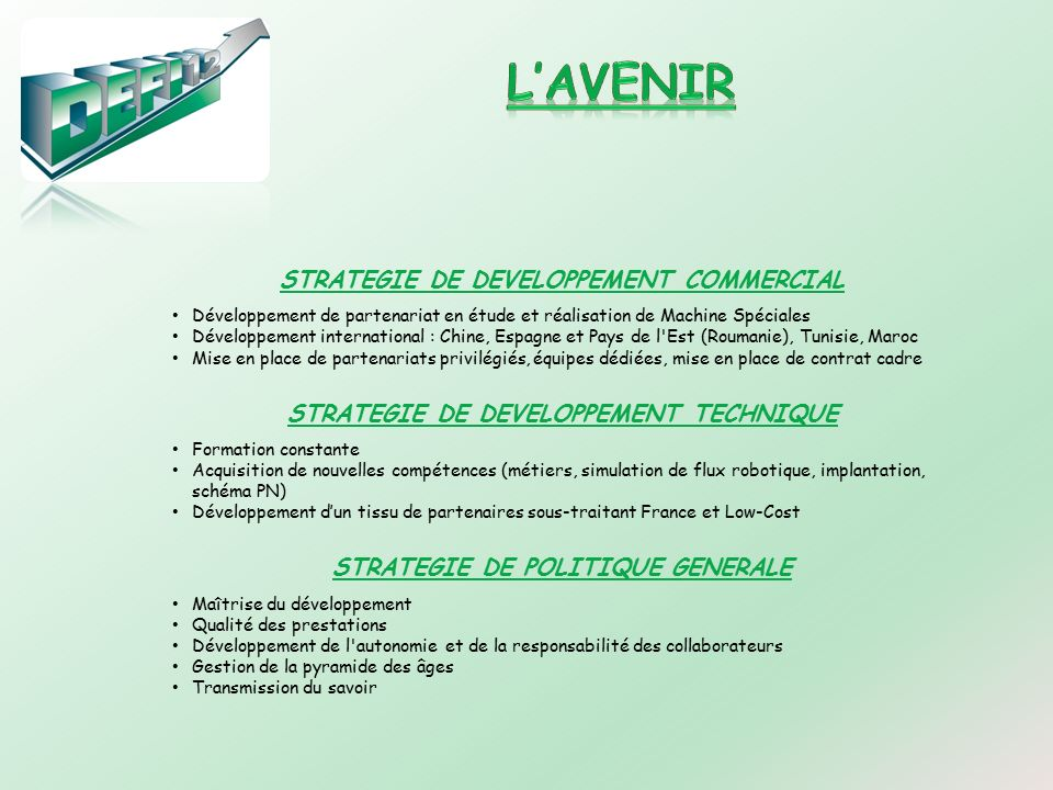 L'AVENIR STRATEGIE DE DEVELOPPEMENT COMMERCIAL