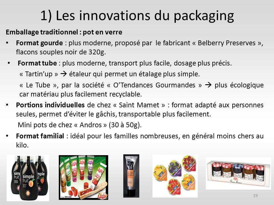 1) Les innovations du packaging