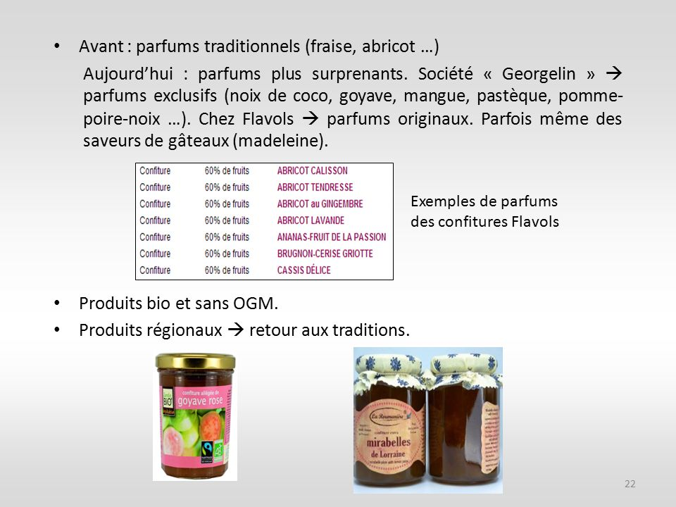 Avant : parfums traditionnels (fraise, abricot …)